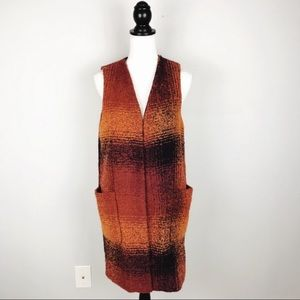 NWT Anthro Elevenses Orange Plaid Duster Vest